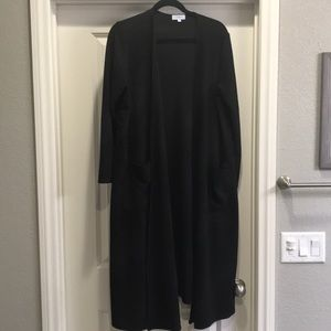 LuLaRoe Solid Black Sarah Cardigan in size Large